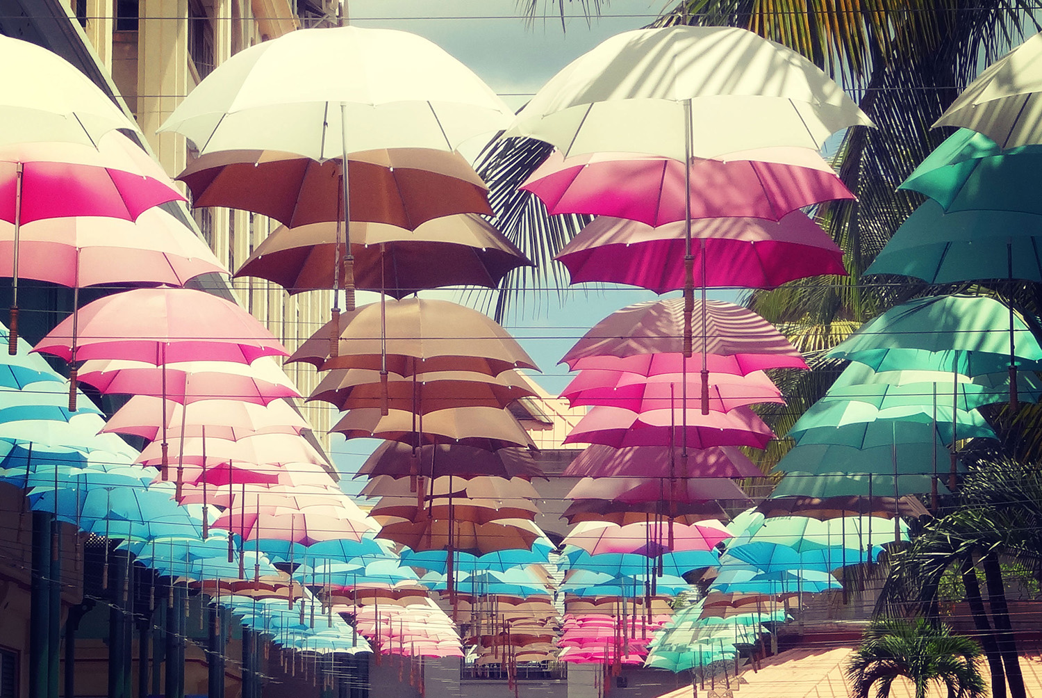 Umbrella Shaded Street, Port Louis, Mauritius. Photo credit: babyelephant