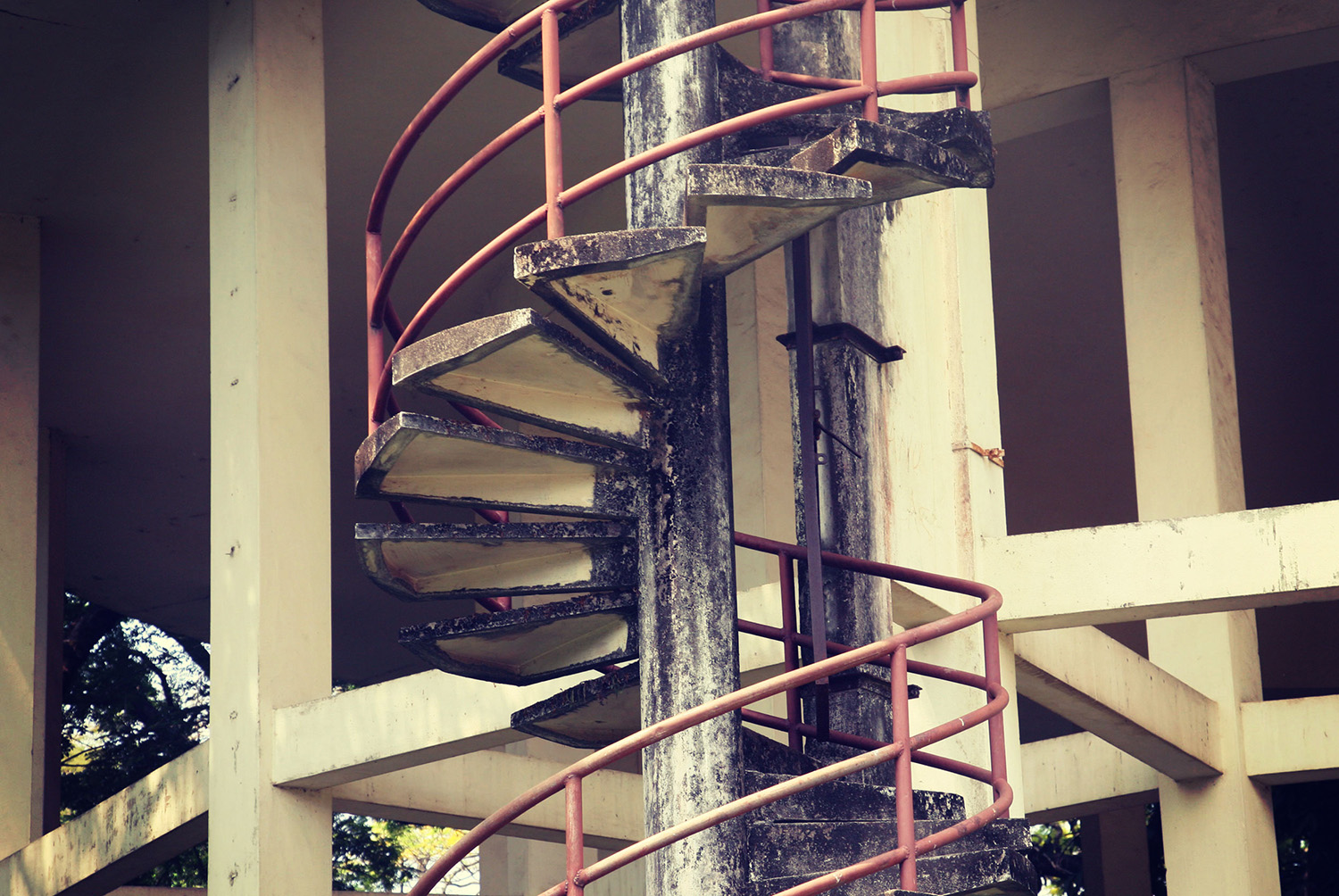 Concrete Water Tower Staircase, Kerala Backwaters, India. Photo credit: babyelephant